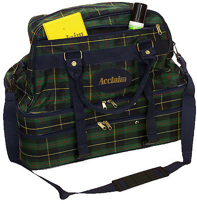 ACCLAIM Orkney Triple Decker 3 Seperate Sections Bowling Bag Navy Green Tartan