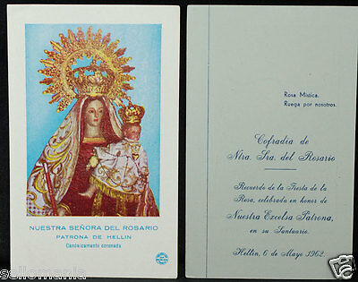 Old Blessed Our Lady Of The Rosary Holy Card 1962 Andachtsbild Santini  Cc906