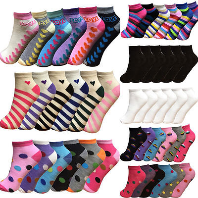 Women's Girls Trainer Socks Liner Ankle Socks 6 Pairs Pack Ladies Socks