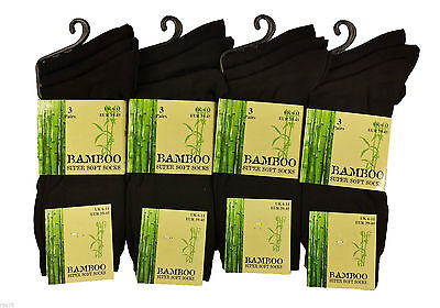 MultiPack Pairs Men's Black Luxury Bamboo Super Soft Anti Bacterial Socks, 6-11