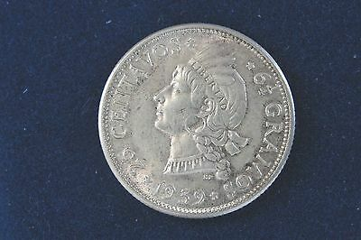 1939 Dominican Republic Silver 25 Centavos Key Date Coin Looks AU *You Grade*