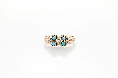 Antique Victorian 1800s Natural Turquoise Pearl 14k Yellow Gold Ring