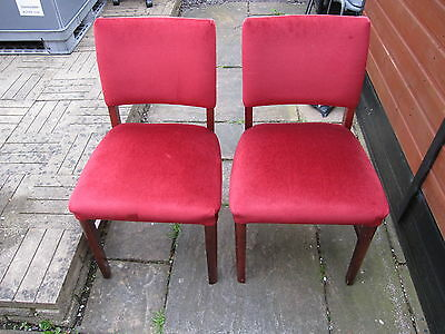 4 Vintage Wood Red Velvet Velour Fabric Dining Chairs Wooden Frame Armless