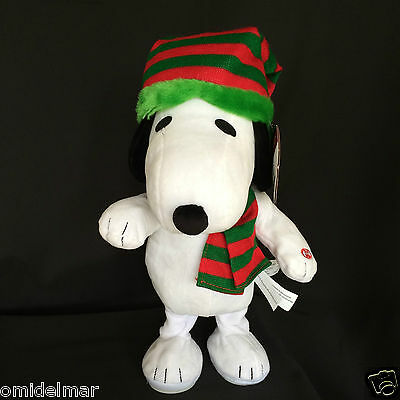 "RETIRED Animated Snoopy Plush Peanuts 15"" Toy Dances & Plays Song Christmas Hat"