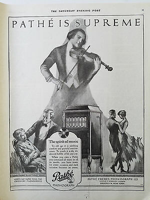 1920 Pathe Phonograph is Supreme Spirit of Music Violin Player Ad