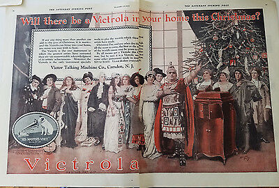 1920 Victor Victrola Phonograph for Christmas Artists Norman Price Art Color Ad
