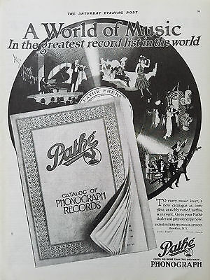1920 Pathe Phonograph Greatest Record List in World of Music Original Ad