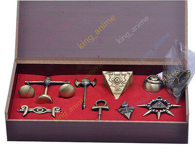Bronze 3D Yu-Gi-Oh! Pendent Set Millenium items Puzzle Wheel Wisdom 8PC +Woodbox