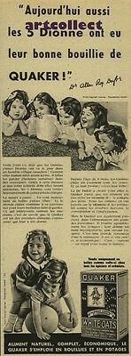 Original Vintage French Ad (1938): Quaker White Oats