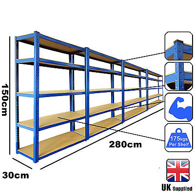 4 Bays Blue 5 Tier Heavy Duty Boltless Metal Steel Shelving Storage Racking Unit