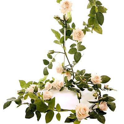 6ft Artificial English Rose Garland - Ivory