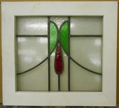 "OLD ENGLISH LEADED STAINED GLASS WINDOW Abstract Floral Sweep 21"" x 19"""