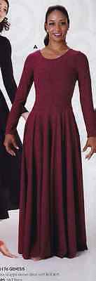 NWOT Praise Wear Liturgical Dance Long Sleeve Wine Dress Ladies Small 76176