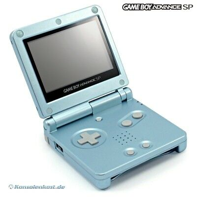 GameBoy Advance SP Konsole #Arctic Blue AGS-101 (inkl. Stromkabel) (Top Zustand)
