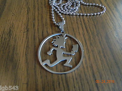 ICP HATCHET MAN Polished Stainless Steel round pendant w/30 inch 3mm ball chain