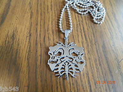 ICP TWIZTID skull lungs Polished Stainless Steel pendant w/30 inch ball chain