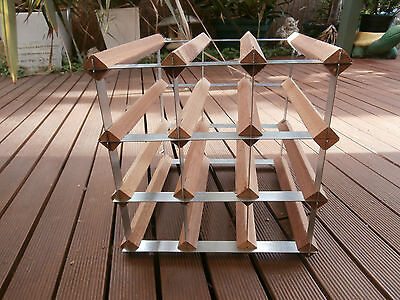Square Wooden And Metal Open Wine Bottle Holder Rack Holds 12 Bottles