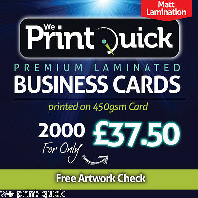 2000 Business Cards - 450gsm Premium, Matt Laminated, Double Sided