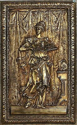 Antique 1800 Heavy Decorative Bronze Lady Servant Plaque