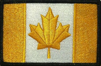 CANADA Flag Patch With VELCRO® Brand Fastener Gold & White  Black Border #11