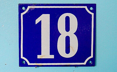 Antique Heavy French Steel Blue White Enamel Painted House Number Sign Plaque 18