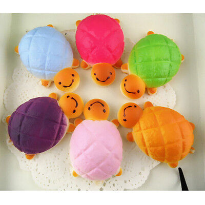 2x Jumbo Squishy Bread Scented Tortoise Phone Charms Bun Soft Straps Toys