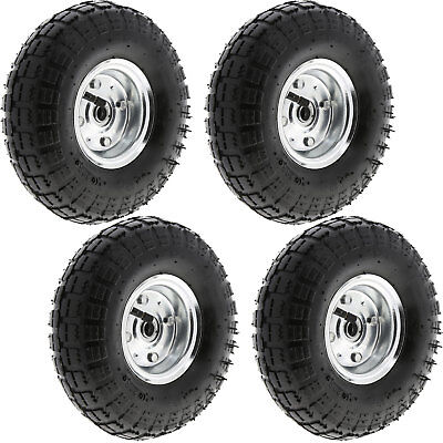 "4 x 10"" Pneumatic Sack Truck Wheelbarrow Tyres Trolley Wheel Cart Tyre Wheels"