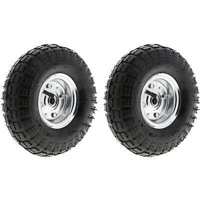 "2 x 10"" Pneumatic Sack Truck Trolley Wheel Barrow Tyre Tyres Wheels 4.10/3.5-4.0"