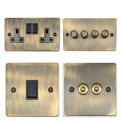Flat Plate Antique Bronze FABB Light Switches, Plug Sockets, Dimmers, Cooker, TV