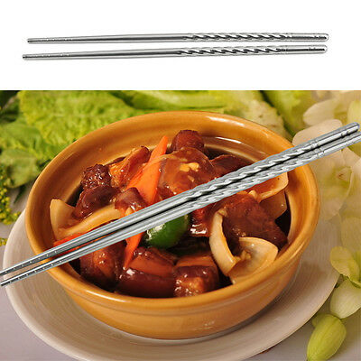 New Chopsticks 4 Pairs Flat Metal Chop Sticks Stainless Steel For Chinese Meal