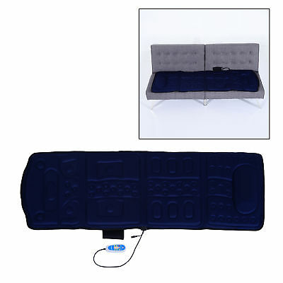 HOMCOM 10-Motor Electric Massage Plush Mat Massager Healthy Heating Comfort Blue