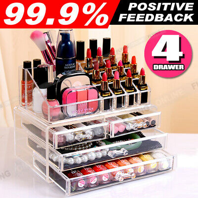 Clear Acrylic Makeup Holder Cosmetic Organizer 4 Drawer Storage Jewellery Box AU