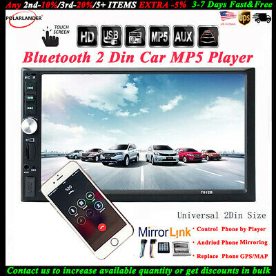 7'' 2 DIN Touch Screen Car Radio Audio Stereo USB/TF/AUX/FM/Remote Bluetooth MP5