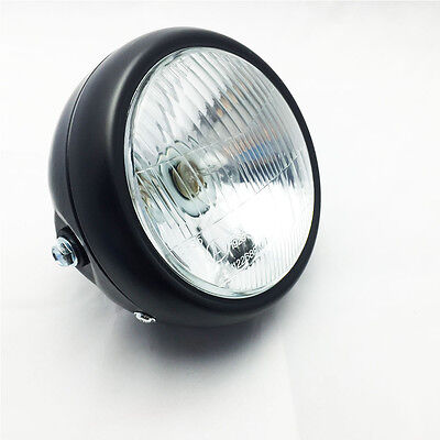 "Black 6 1/2"" Motorcycle Headlight Head Lamp 35W For Harley Cafe Racer Custom"