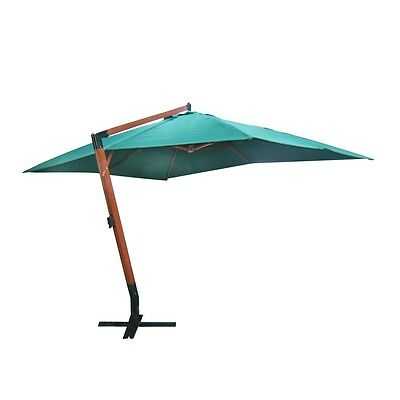 #bNEW CANTILEVER PARASOL UMBRELLA OVERHUNG OVERHANGING 4 X 3 M GREEN