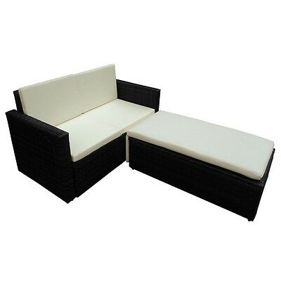 #b Poly Rattan Lounge Set Sofa Bed Garden Furniture HighQuality Black