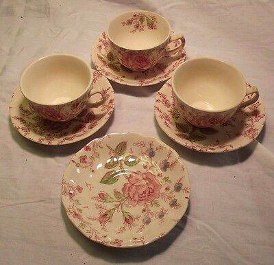 Johnson Brothers Rose Chintz Tea Cups Saucers Set of 3 w/1 Extra Saucer England