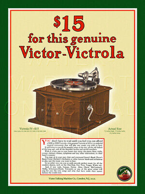 """18"""" X 24"""" Reproduced Victor Victrola Advertisement Canvas Banner"""