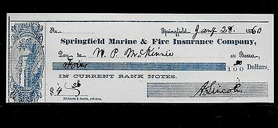 Abraham Lincoln Autograph Reprint On Reproduction Of Personal Check *CK1