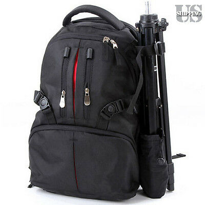 DSLR SLR Camera Backpack Case Bag Shockproof for Canon Nikon Sony Pentax Black