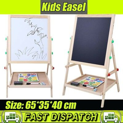 Child Wooden Double Sided Art Easel Stand Chalk Chalkboard+Magnetic White Board