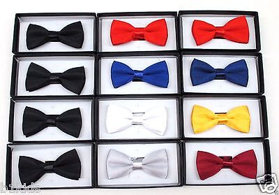 Wholesale Bow Tie Boys Girls  Kids Solid Formal Wedding 12 Piece Lot Gift Box