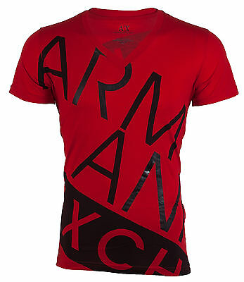 ARMANI EXCHANGE AX Mens T-Shirt BIAS Slim Fit RED Casual Designer $45 Jeans NWT