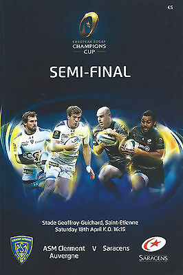 Clermont Auvergne v Saracens 2015 European Champ Cup semi-final RUGBY PROGRAMME