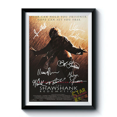 Signed Poster SHAWSHANK REDEMPTION Movie Cast A4 Reprint Autographed Gift 004001