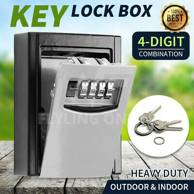 Outdoor Wall-Mounted Key Storage Box with Set-Your-Own Combination Lock 4 Digit