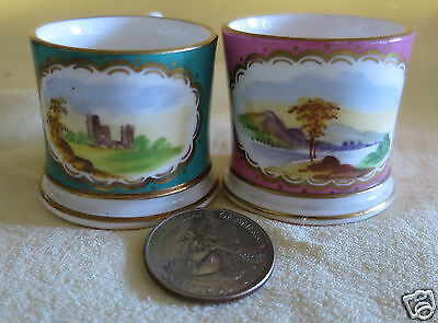 """2 Antique Miniature Porcelain Mugs Hand Painted Pictorial Scenes 1 5/8"""" Tall"""