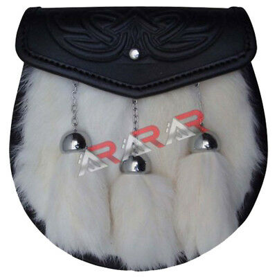 Leather Kilt Sporran Flap EMBOSSED WHITE FUR 3 Tassels on Front with Free Chain
