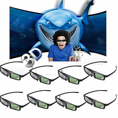 Active Shutter Glasses Full 3D Rechargeable Movies Films Games TV DLP Projector
