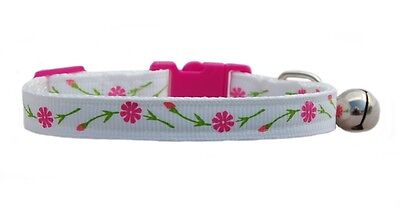 Handmade fabric White & pretty Pink Flowers   safety kitten cat collar bell